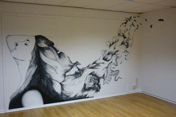Рисунки на стенах в квартире фото простые